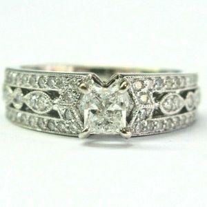 Jewelry - 18Kt Princess & Round Cut Diamond White Gold Milgr